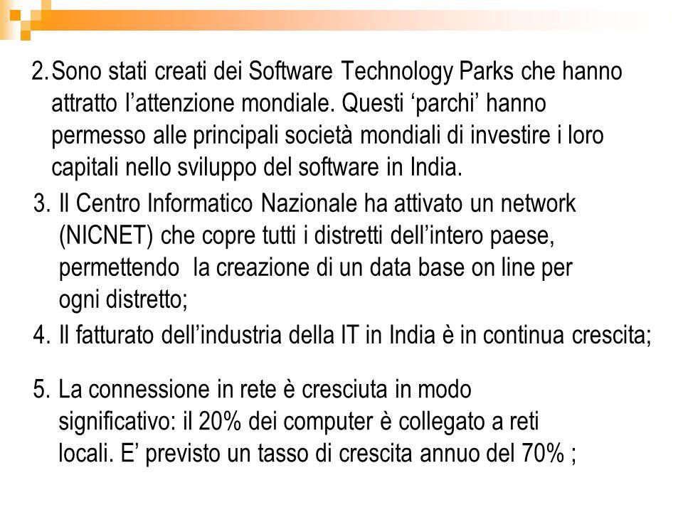2.Sono stati creati dei Software Technology Parks che hanno attratto lattenzione mondiale. Questi parchi hanno permesso alle principali società mondia
