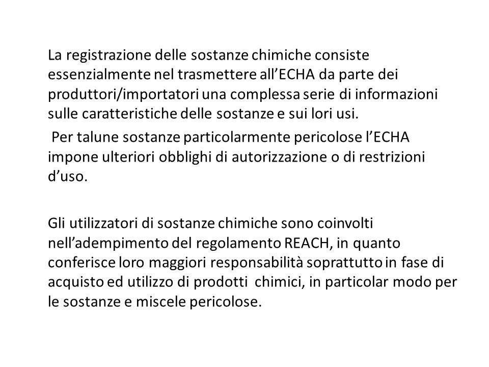 La registrazione delle sostanze chimiche consiste essenzialmente nel trasmettere allECHA da parte dei produttori/importatori una complessa serie di in