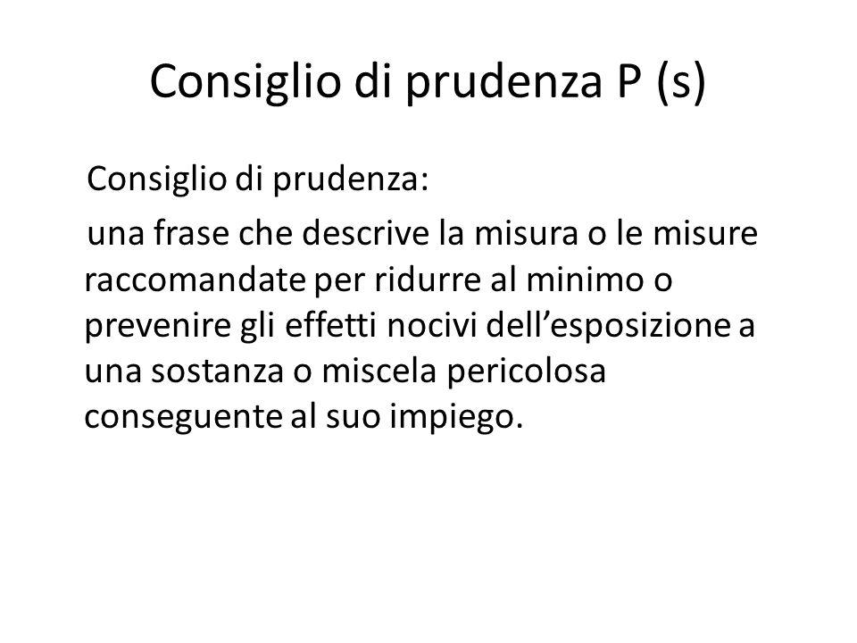 Consiglio di prudenza P (s) Consiglio di prudenza: una frase che descrive la misura o le misure raccomandate per ridurre al minimo o prevenire gli eff