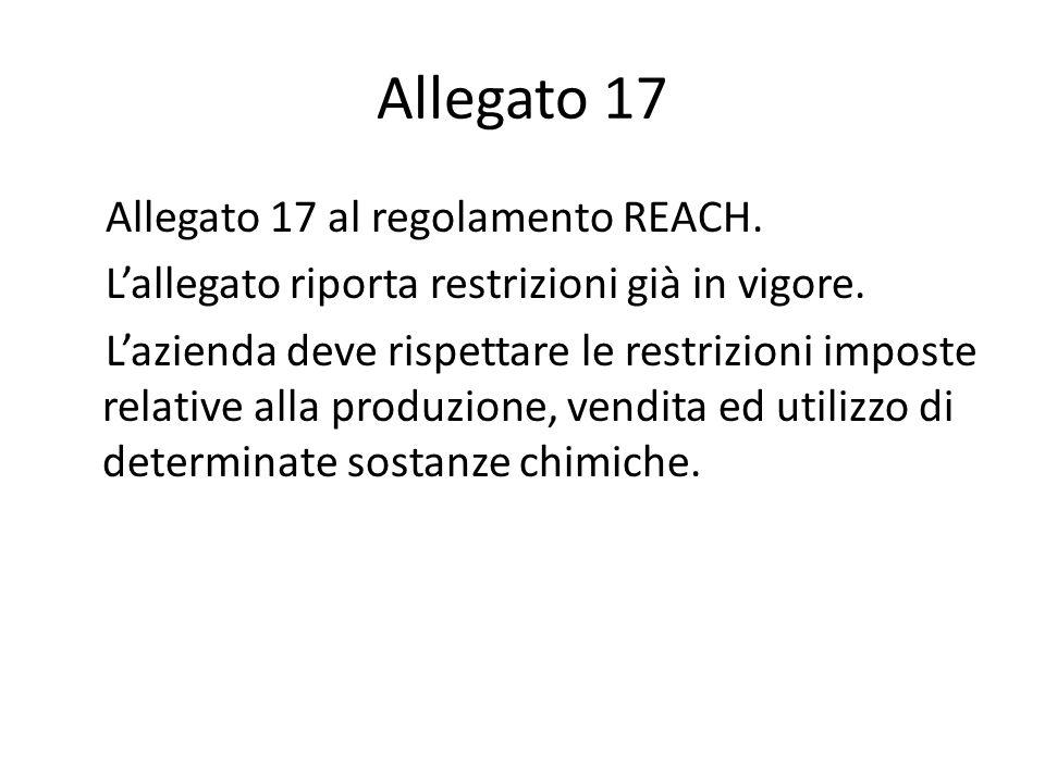 Allegato 17 Allegato 17 al regolamento REACH. Lallegato riporta restrizioni già in vigore. Lazienda deve rispettare le restrizioni imposte relative al
