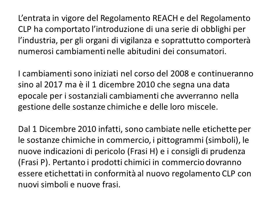 Lentrata in vigore del Regolamento REACH e del Regolamento CLP ha comportato lintroduzione di una serie di obblighi per lindustria, per gli organi di