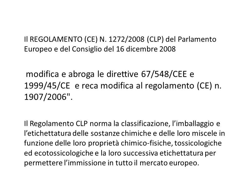 Il REGOLAMENTO (CE) N. 1272/2008 (CLP) del Parlamento Europeo e del Consiglio del 16 dicembre 2008 modifica e abroga le direttive 67/548/CEE e 1999/45