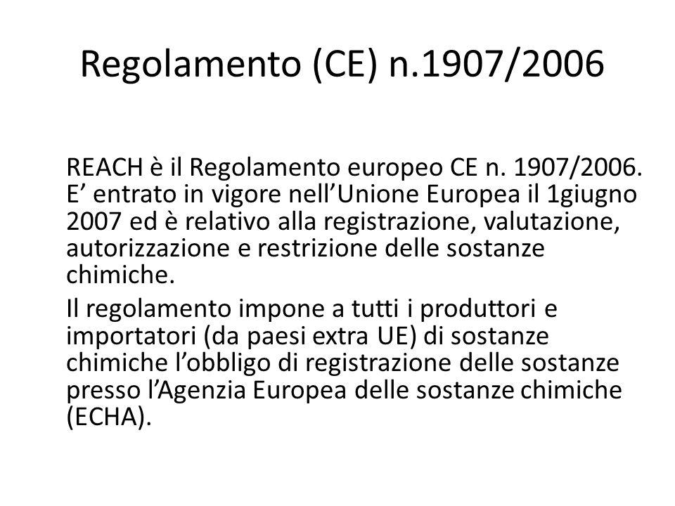Regolamento (CE) n.1907/2006 REACH è il Regolamento europeo CE n. 1907/2006. E entrato in vigore nellUnione Europea il 1giugno 2007 ed è relativo alla