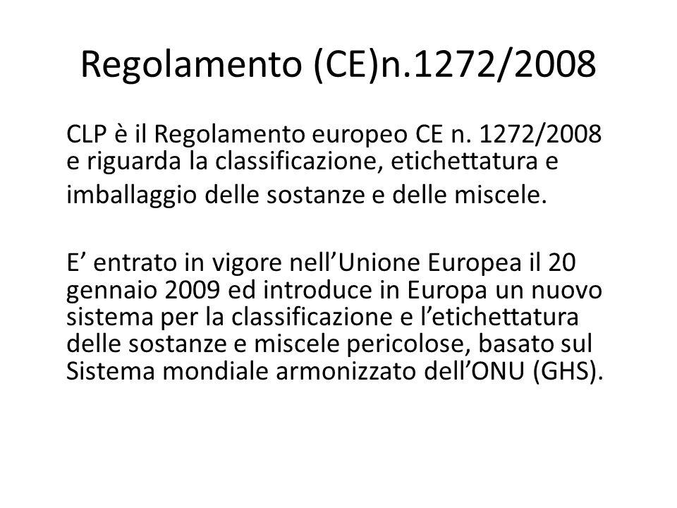 CLP è il Regolamento europeo CE n. 1272/2008 e riguarda la classificazione, etichettatura e imballaggio delle sostanze e delle miscele. E entrato in v