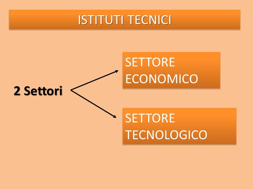 ISTITUTI TECNICI SETTORE ECONOMICO SETTORE TECNOLOGICO 2 Settori