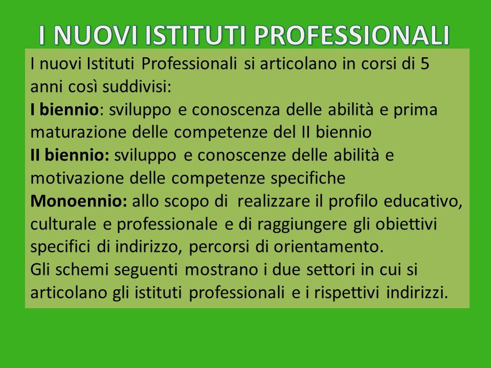 I nuovi Istituti Professionali si articolano in corsi di 5 anni così suddivisi: I biennio: sviluppo e conoscenza delle abilità e prima maturazione del