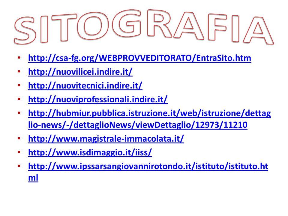 http://csa-fg.org/WEBPROVVEDITORATO/EntraSito.htm http://nuovilicei.indire.it/ http://nuovitecnici.indire.it/ http://nuoviprofessionali.indire.it/ htt