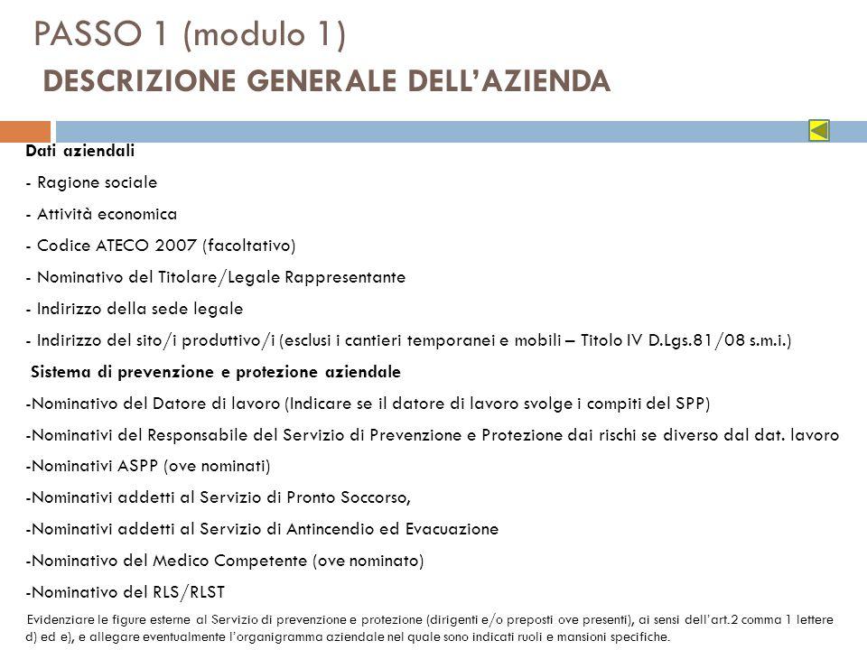 PASSO 1 (modulo 1) DESCRIZIONE GENERALE DELLAZIENDA Dati aziendali - Ragione sociale - Attività economica - Codice ATECO 2007 (facoltativo) - Nominati