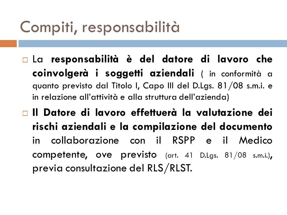 Compiti e responsabilità COMPITIRESPONSABILITÁSOGGETTI COINVOLTI - Valutazione dei rischi - Indicazione delle misure di prevenzione e protezione - Programma dattuazione - Elaborazione - aggiornamento del Documento Datore di lavoro - RSPP: artt.31, 33 e 34 - Medico competente (ove previsto): artt.25 e 41 - RLS/RLST: artt.