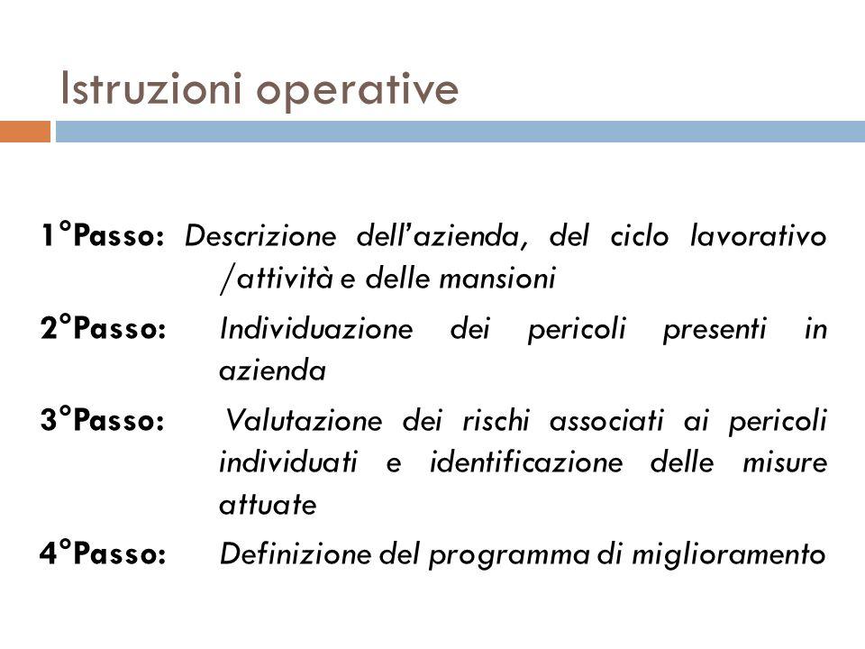 Istruzioni operative 1°Passo: Descrizione dellazienda, del ciclo lavorativo /attività e delle mansioni 2°Passo: Individuazione dei pericoli presenti i