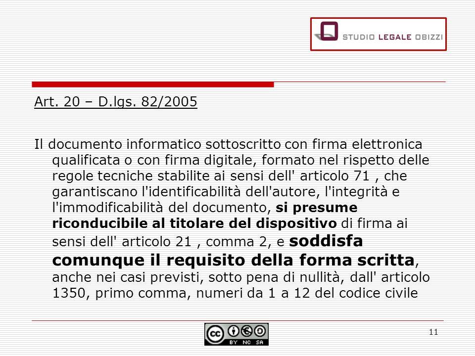 Art. 20 – D.lgs. 82/2005 Il documento informatico sottoscritto con firma elettronica qualificata o con firma digitale, formato nel rispetto delle rego