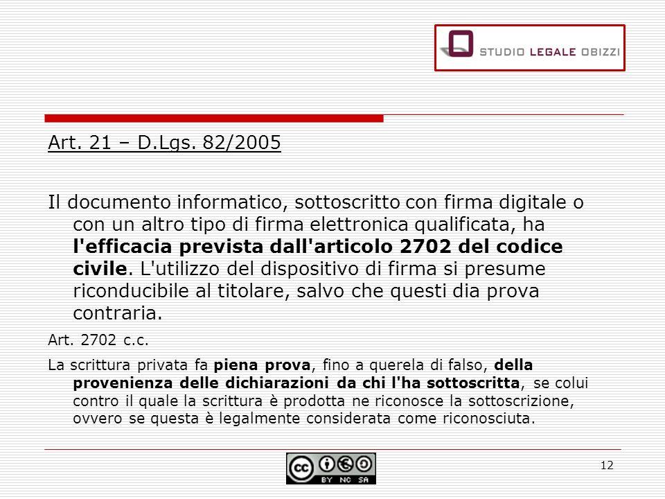 Art. 21 – D.Lgs. 82/2005 Il documento informatico, sottoscritto con firma digitale o con un altro tipo di firma elettronica qualificata, ha l'efficaci