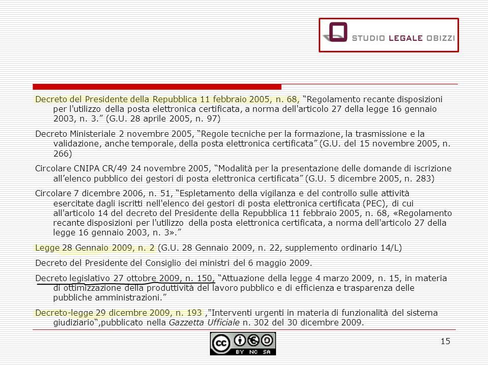 Decreto del Presidente della Repubblica 11 febbraio 2005, n. 68, Regolamento recante disposizioni per l'utilizzo della posta elettronica certificata,