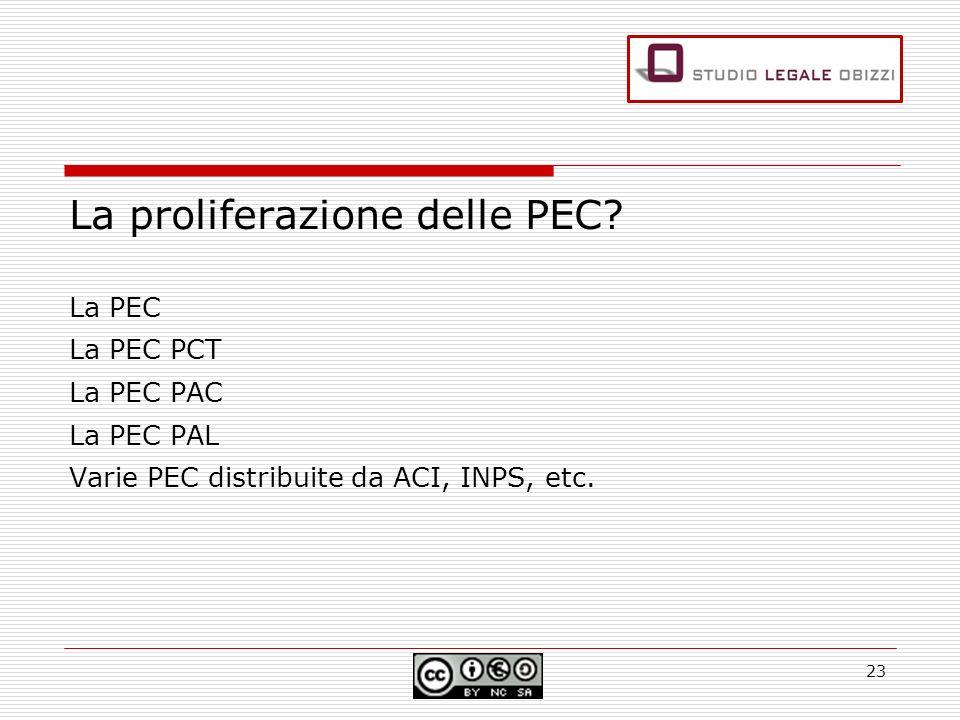 La proliferazione delle PEC? La PEC La PEC PCT La PEC PAC La PEC PAL Varie PEC distribuite da ACI, INPS, etc. 23