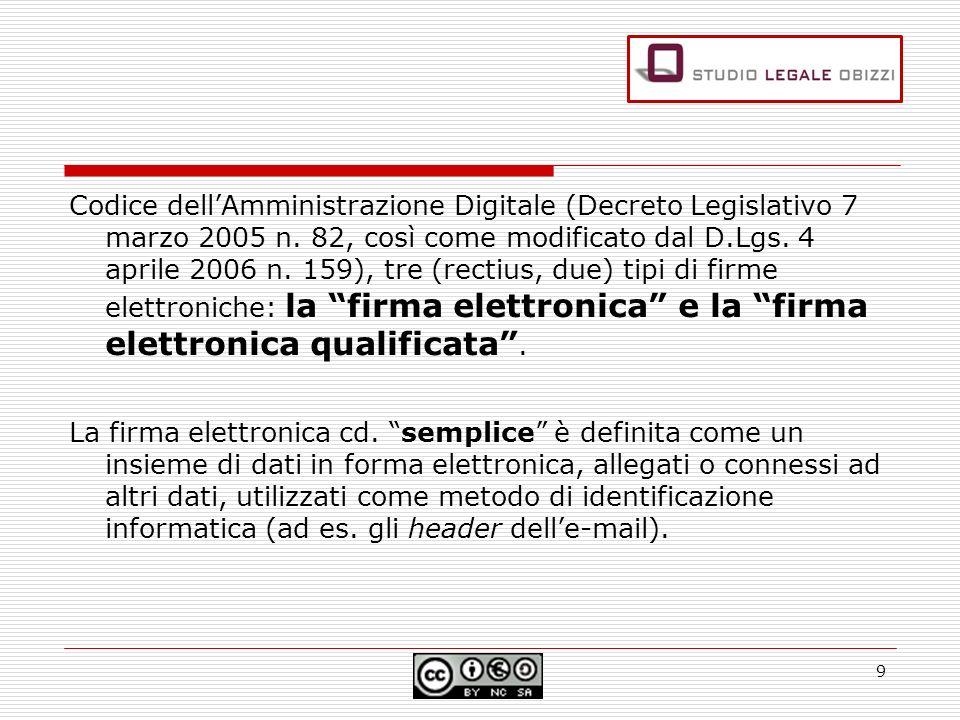 Codice dellAmministrazione Digitale (Decreto Legislativo 7 marzo 2005 n. 82, così come modificato dal D.Lgs. 4 aprile 2006 n. 159), tre (rectius, due)