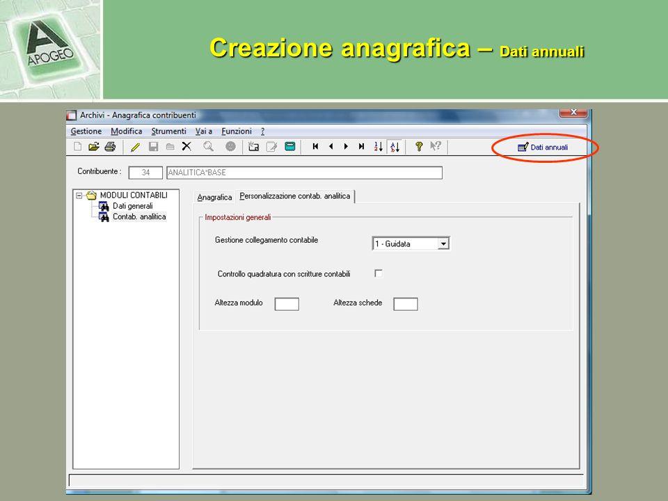 Creazione anagrafica – Dati annuali