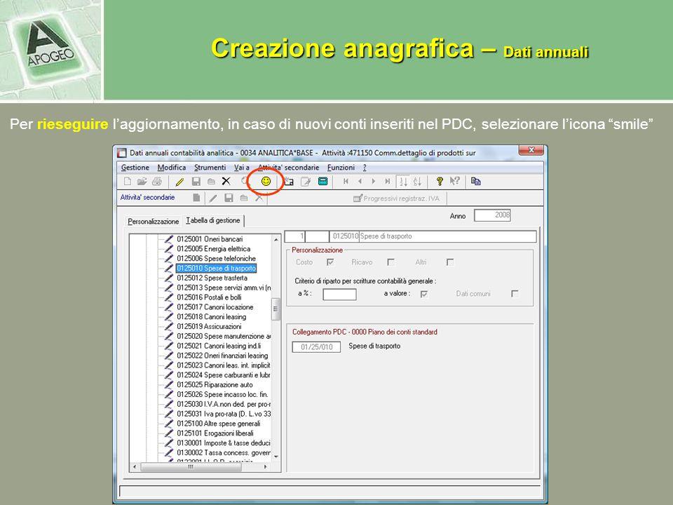Per rieseguire laggiornamento, in caso di nuovi conti inseriti nel PDC, selezionare licona smile Creazione anagrafica – Dati annuali