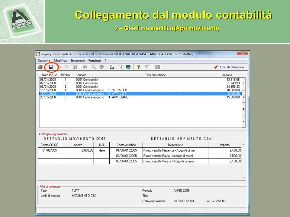 Collegamento dal modulo contabilità Collegamento dal modulo contabilità 2 – Gestione analitica (Apri movimenti)