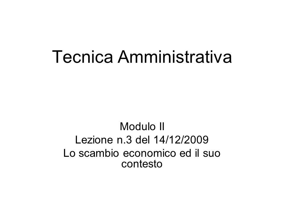 Tecnica Amministrativa Modulo II Lezione n.3 del 14/12/2009 Lo scambio economico ed il suo contesto