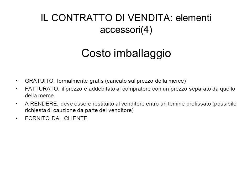IL CONTRATTO DI VENDITA: elementi accessori(4) Costo imballaggio GRATUITO, formalmente gratis (caricato sul prezzo della merce) FATTURATO, il prezzo è