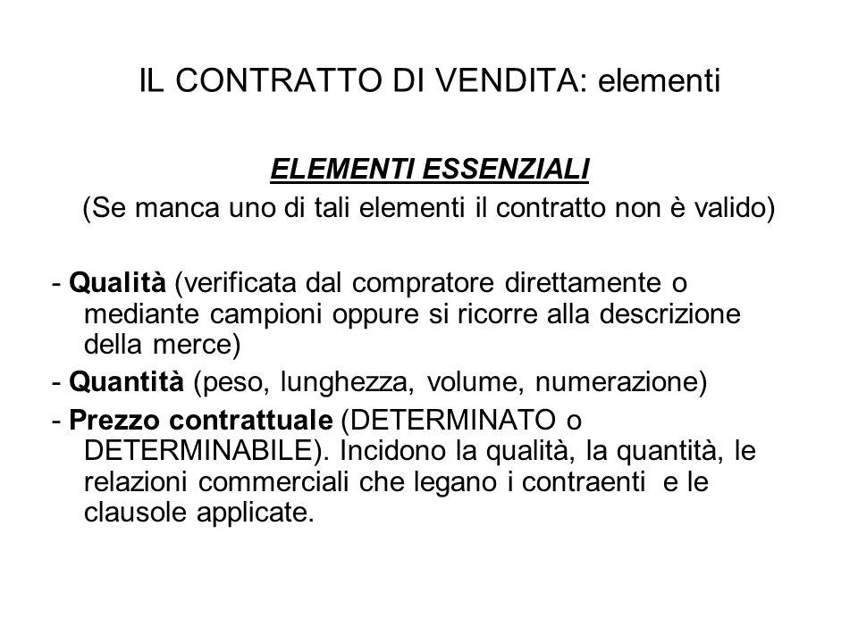 IL CONTRATTO DI VENDITA: elementi ELEMENTI ESSENZIALI (Se manca uno di tali elementi il contratto non è valido) - Qualità (verificata dal compratore d