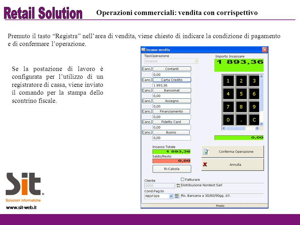 www.sit-web.it Premuto il tasto Registra nellarea di vendita, viene chiesto di indicare la condizione di pagamento e di confermare loperazione. www.si