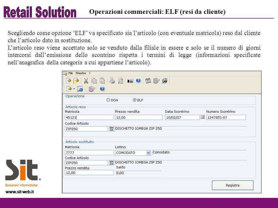 www.sit-web.it Operazioni commerciali: ELF (resi da cliente) Scegliendo come opzione ELF va specificato sia larticolo (con eventuale matricola) reso d