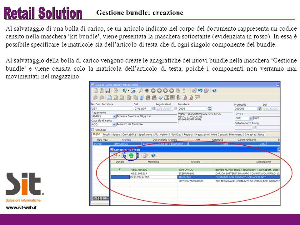 www.sit-web.it Gestione bundle: creazione Al salvataggio di una bolla di carico, se un articolo indicato nel corpo del documento rappresenta un codice