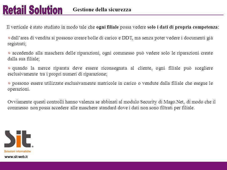 www.sit-web.it Gestione della sicurezza Il verticale è stato studiato in modo tale che ogni filiale possa vedere solo i dati di propria competenza: Ov