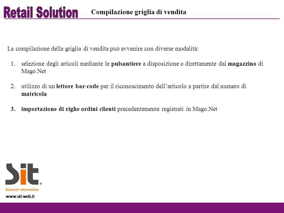 www.sit-web.it Compilazione griglia di vendita La compilazione della griglia di vendita può avvenire con diverse modalità: 1.selezione degli articoli