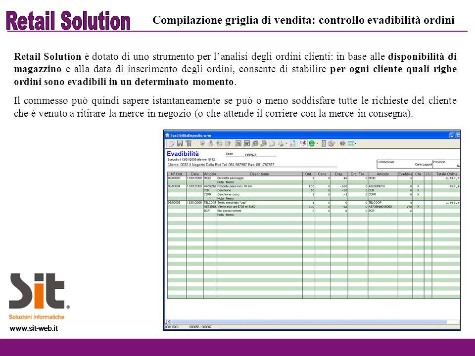 www.sit-web.it Retail Solution è dotato di uno strumento per lanalisi degli ordini clienti: in base alle disponibilità di magazzino e alla data di ins