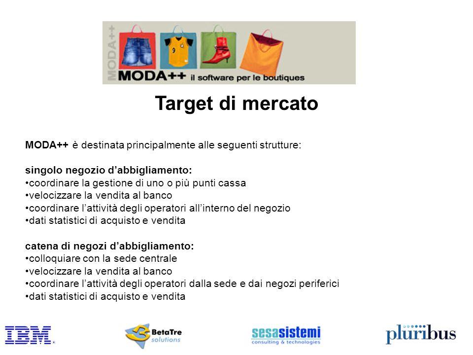 Target di mercato MODA++ è destinata principalmente alle seguenti strutture: singolo negozio dabbigliamento: coordinare la gestione di uno o più punti