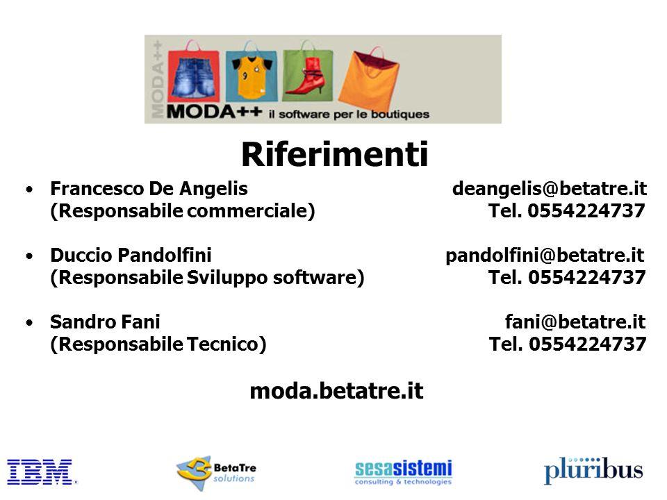 Riferimenti Francesco De Angelis deangelis@betatre.it (Responsabile commerciale) Tel. 0554224737 Duccio Pandolfini pandolfini@betatre.it (Responsabile