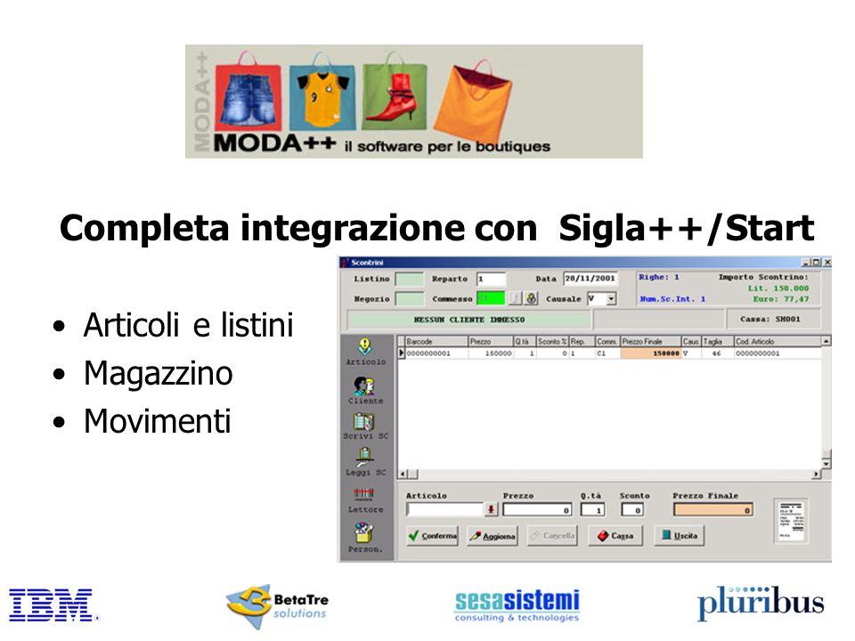 Completa integrazione con Sigla++/Start Articoli e listini Magazzino Movimenti
