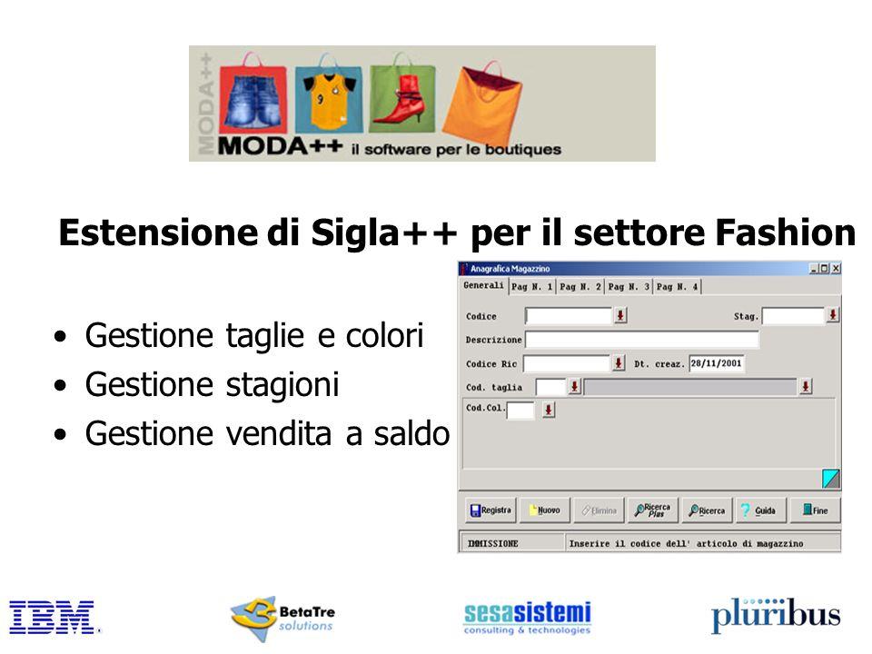Estensione di Sigla++ per il settore Fashion Gestione taglie e colori Gestione stagioni Gestione vendita a saldo