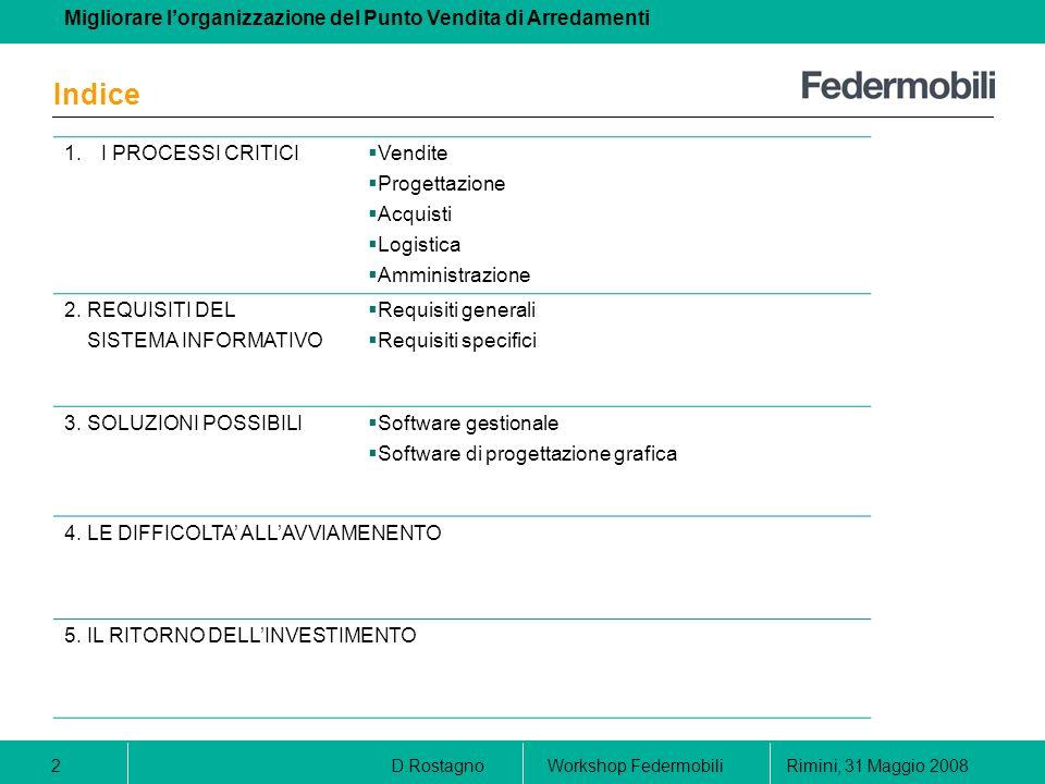 Migliorare lorganizzazione del Punto Vendita di Arredamenti D.RostagnoRimini, 31 Maggio 2008Workshop Federmobili 2 Indice 1.