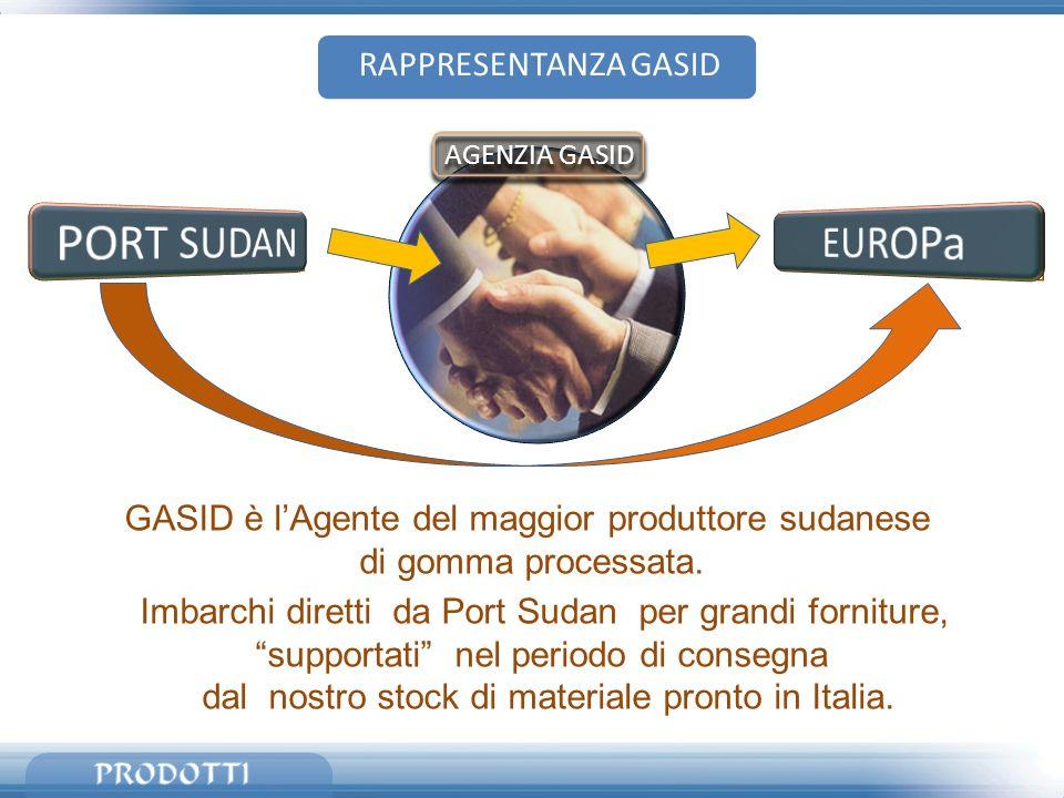 GASID è lAgente del maggior produttore sudanese di gomma processata. Imbarchi diretti da Port Sudan per grandi forniture, supportati nel periodo di co