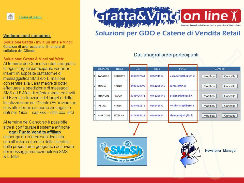 Vantaggi post concorso: Soluzione Gratta - Invia un sms e Vinci: Certezza di aver acquisito il numero di cellulare del Cliente. Soluzione: Gratta & Vi