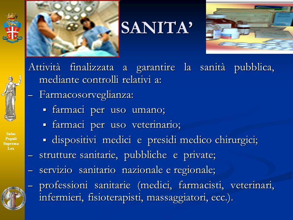 SANITA Attività finalizzata a garantire la sanità pubblica, mediante controlli relativi a: – Farmacosorveglianza: farmaci per uso umano; farmaci per u