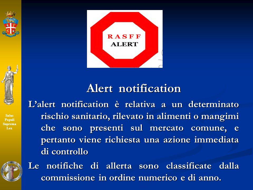 Alert notification Lalert notification è relativa a un determinato rischio sanitario, rilevato in alimenti o mangimi che sono presenti sul mercato com
