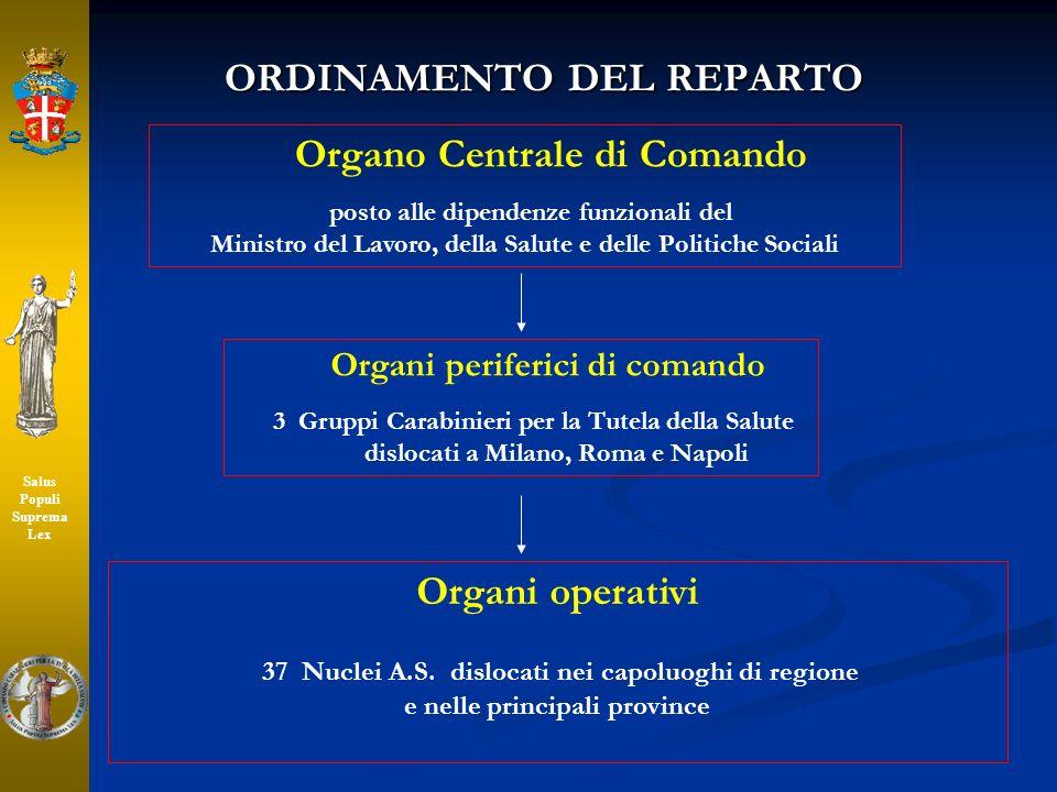 ORDINAMENTO DEL REPARTO Organo Centrale di Comando posto alle dipendenze funzionali del Ministro del Lavoro, della Salute e delle Politiche Sociali Or