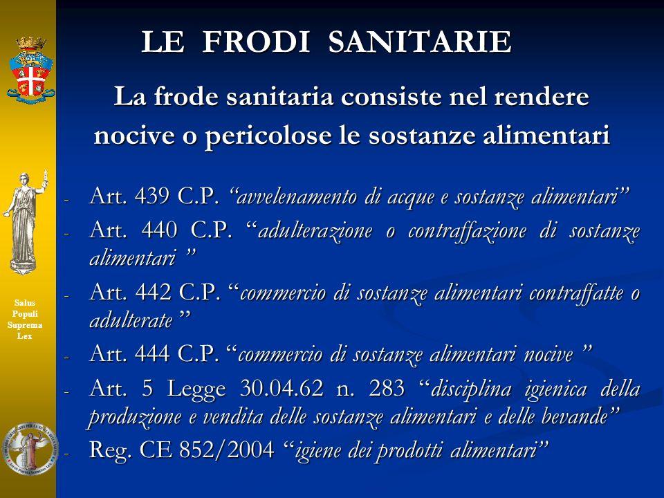 LE FRODI SANITARIE La frode sanitaria consiste nel rendere nocive o pericolose le sostanze alimentari - Art. 439 C.P. avvelenamento di acque e sostanz