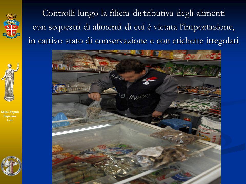 Controlli lungo la filiera distributiva degli alimenti con sequestri di alimenti di cui è vietata limportazione, in cattivo stato di conservazione e c