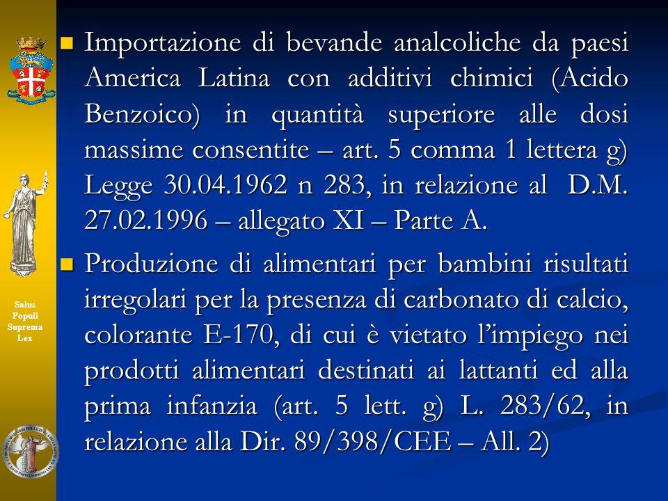 Importazione di bevande analcoliche da paesi America Latina con additivi chimici (Acido Benzoico) in quantità superiore alle dosi massime consentite –