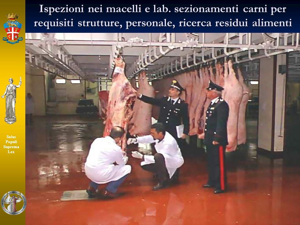 48 Salus Populi Suprema Lex Ispezioni nei macelli e lab. sezionamenti carni per requisiti strutture, personale, ricerca residui alimenti