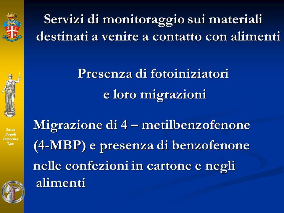 Servizi di monitoraggio sui materiali destinati a venire a contatto con alimenti Presenza di fotoiniziatori e loro migrazioni e loro migrazioni Migraz