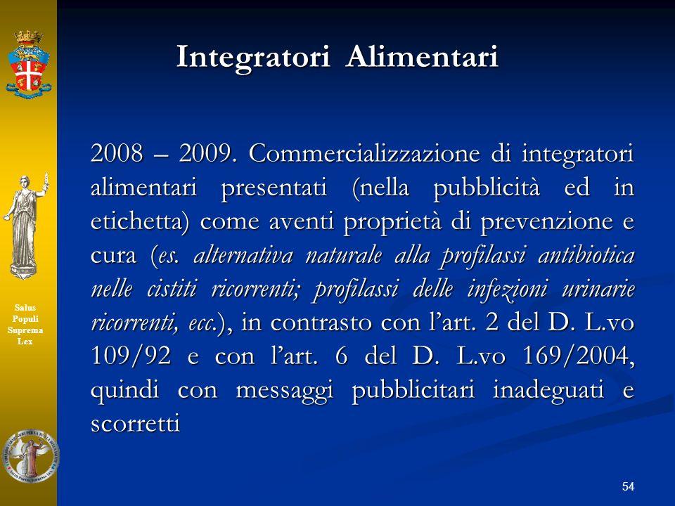 Integratori Alimentari 2008 – 2009. Commercializzazione di integratori alimentari presentati (nella pubblicità ed in etichetta) come aventi proprietà
