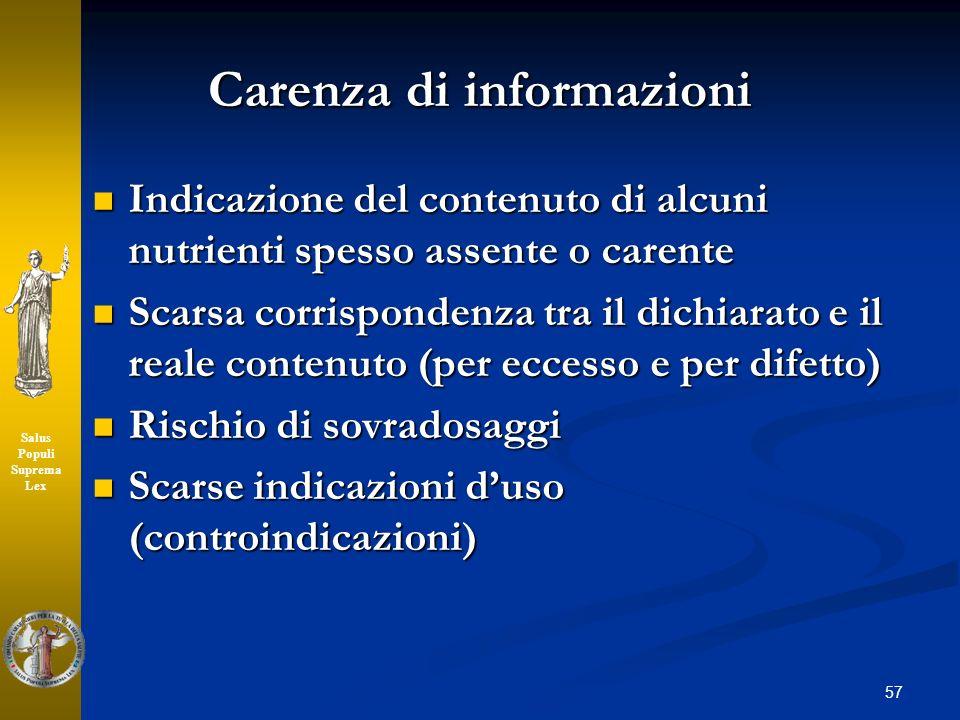 Carenza di informazioni Indicazione del contenuto di alcuni nutrienti spesso assente o carente Indicazione del contenuto di alcuni nutrienti spesso as