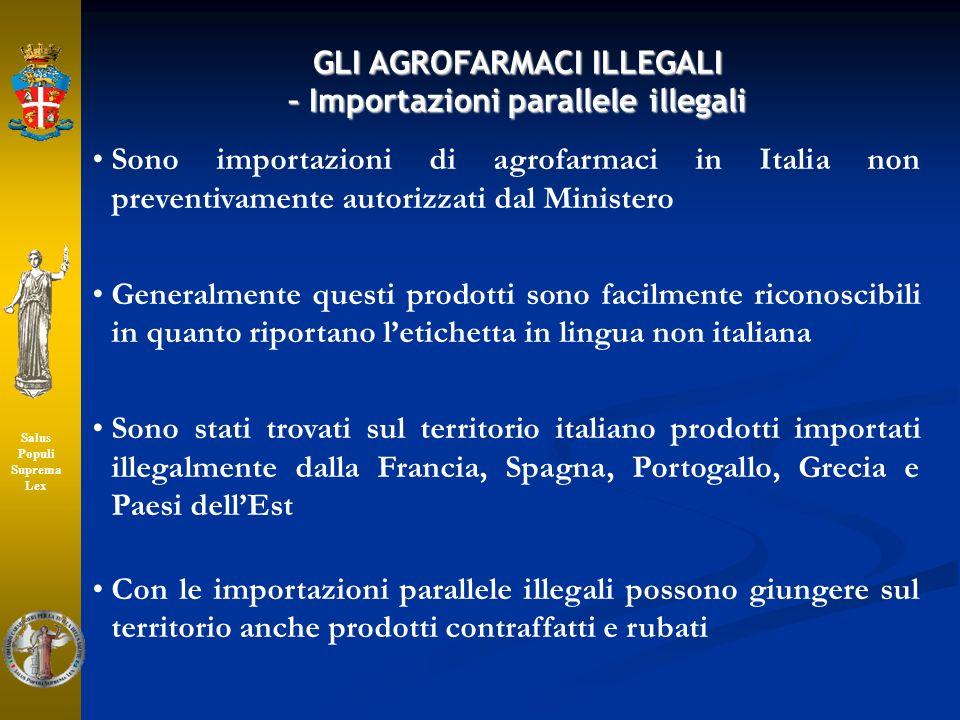 GLI AGROFARMACI ILLEGALI – Importazioni parallele illegali Sono importazioni di agrofarmaci in Italia non preventivamente autorizzati dal Ministero Ge