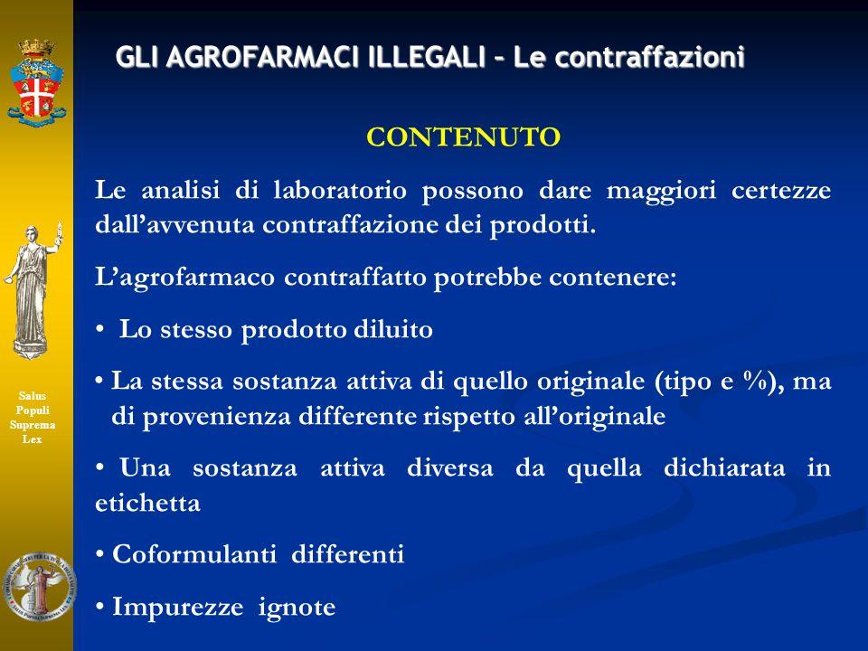CONTENUTO Le analisi di laboratorio possono dare maggiori certezze dallavvenuta contraffazione dei prodotti. Lagrofarmaco contraffatto potrebbe conten